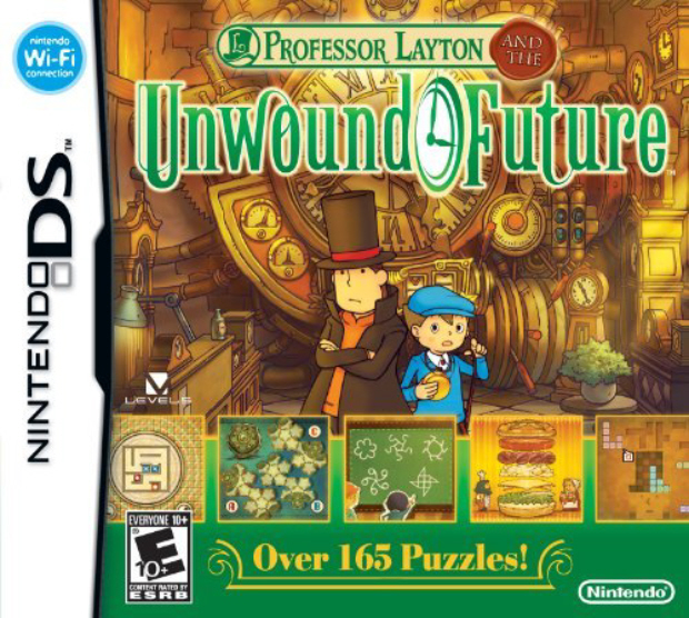 Professor Layton and the Unwound Future walkthrough box artwork for DS game