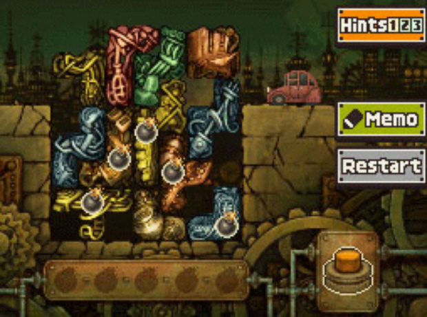 Professor Layton and the Unwound Future puzzle 129 Block Blockade solution screenshot