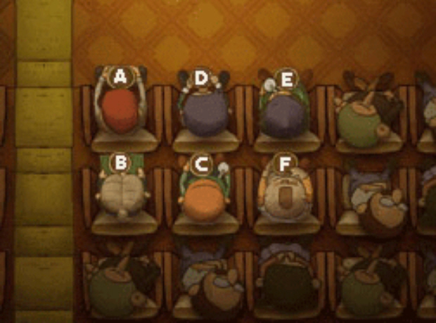 Professor Layton and the Unwound Future puzzle 55 Picky Moviegoers solution screenshot