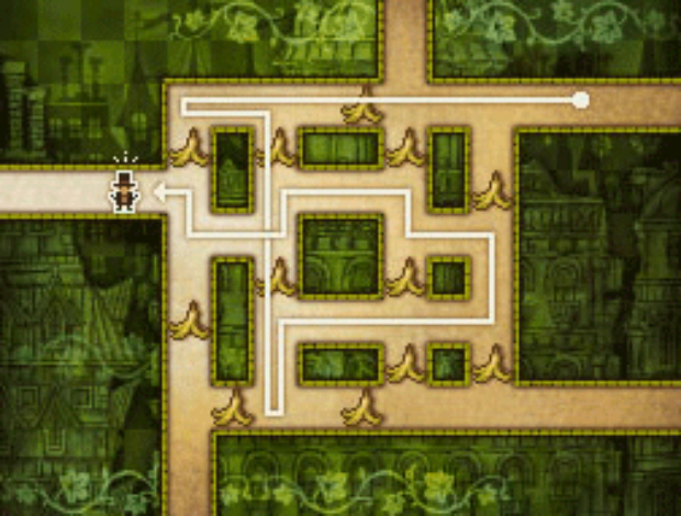 Professor Layton and the Unwound Future puzzle 74 Slippery Trip 2 solution screenshot