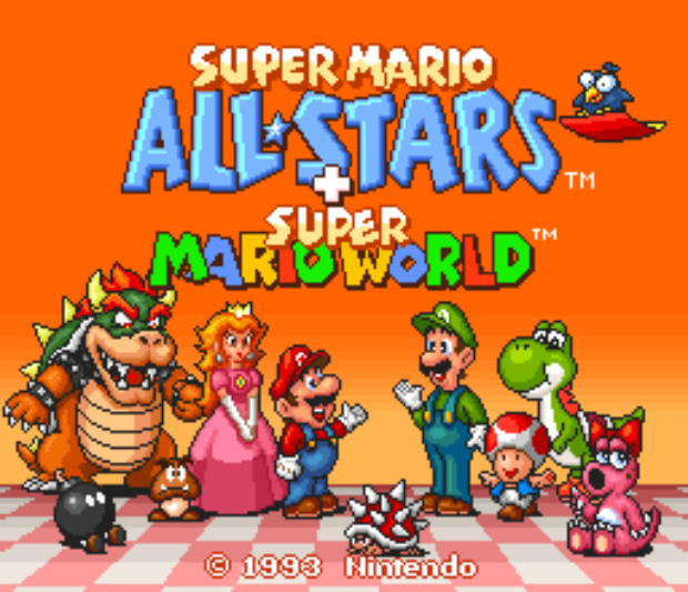 Super Mario All-Stars Plus Mario World title screenshot