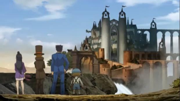 Professor Layton vs Ace Attorney Phoenix Wright wallpaper (3DS)