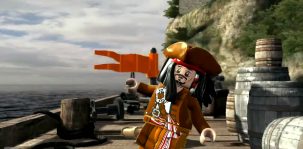 Lego Pirates of the Caribbean videogame screenshot of Jack Sparrow