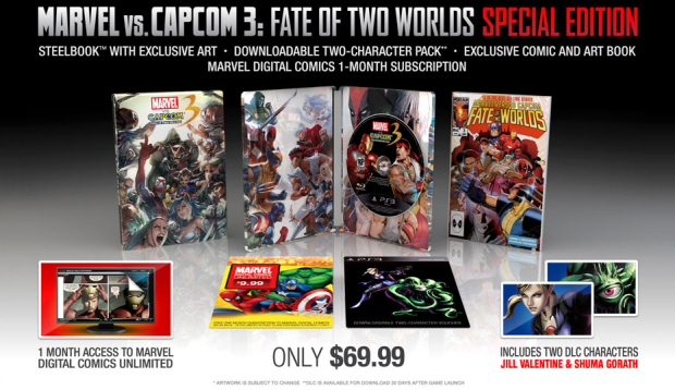 Marvel vs Capcom 3 special edition includes Jill and Shuma Gorath DLC