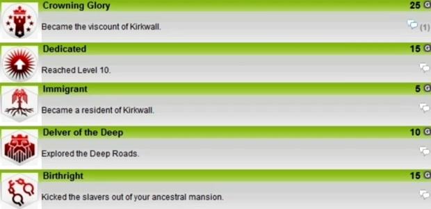 Dragon Age 2 Achievements list screenshot (Xbox 360)