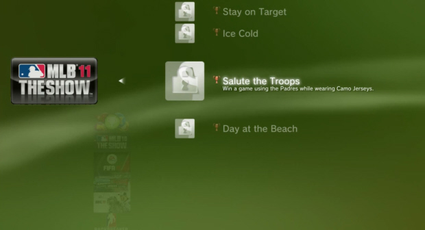 MLB 11: The Show Trophies list screenshot (PS3)