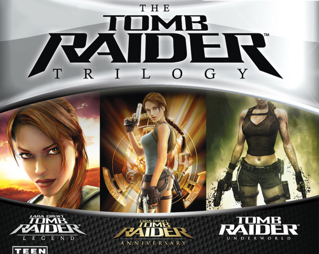 Tomb Raider Trilogy box artwork of Legend, Anniversary and Underworld exclusively for PlayStation 3