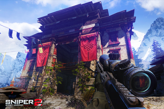 Sniper: Ghost Warrior 2 screenshot shows a Tibetan Shrine or Temple in the mountains