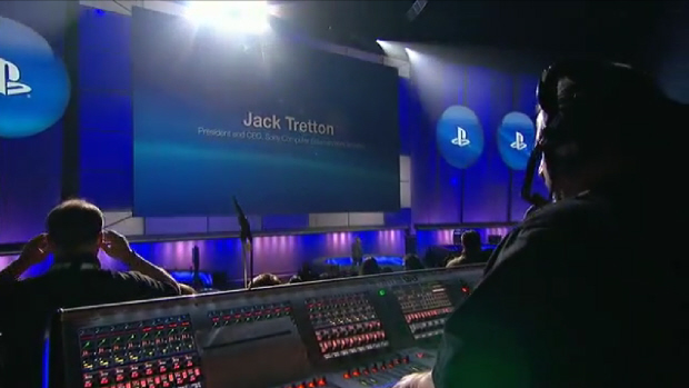 A cool view of the Sony Pre-E3 2011 Press Conference stage and blue lighting