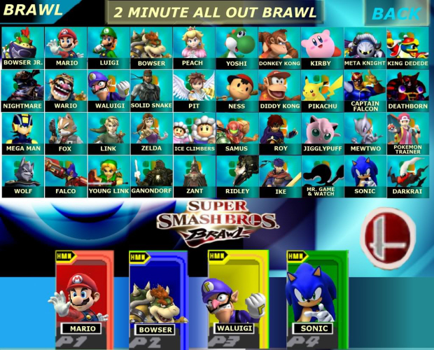 Is this what a Super Smash Bros. 4 character select screen would look like?