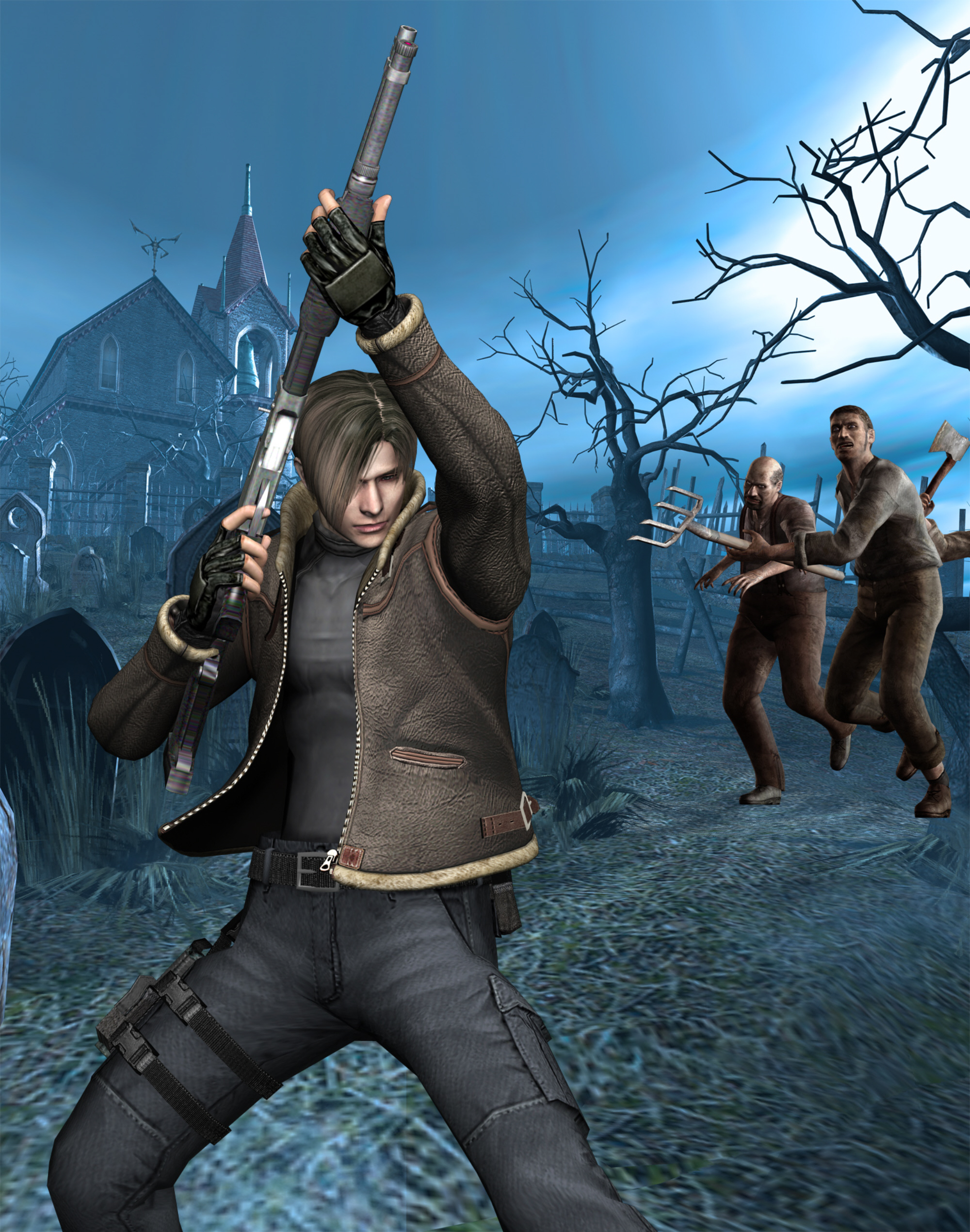 Resident Evil 4 Artwork Shotgun Leon Cultists