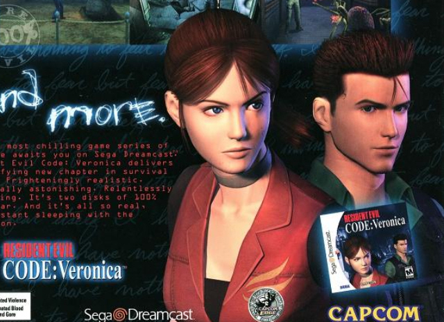 Claire Redfield and Chris Redfield art from Resident Evil: Code Veronica ad for Dreamcast