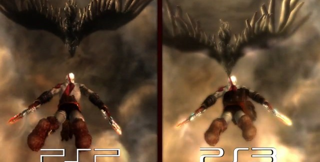 God of War Origins Screenshot - Comparison of PSP to PS3 Graphics
