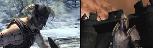 Skyrim vs Oblivion Comparison Screenshot of Both Games Side by Side
