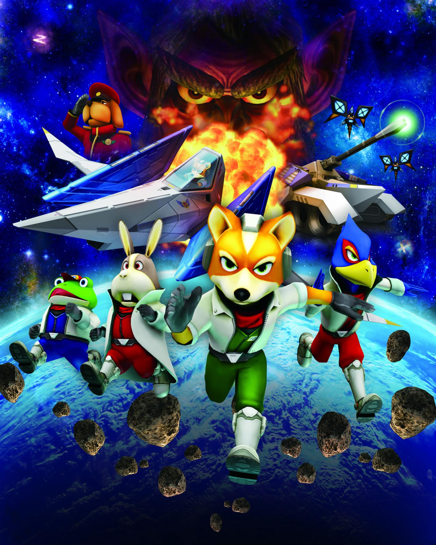 Star fox 64 3d artwork for star fox team (slippy, peppy, falco, fox).