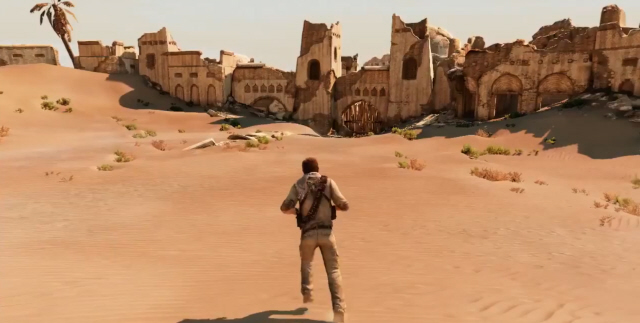 Uncharted 3 Campaign Screenshot of Village Desert