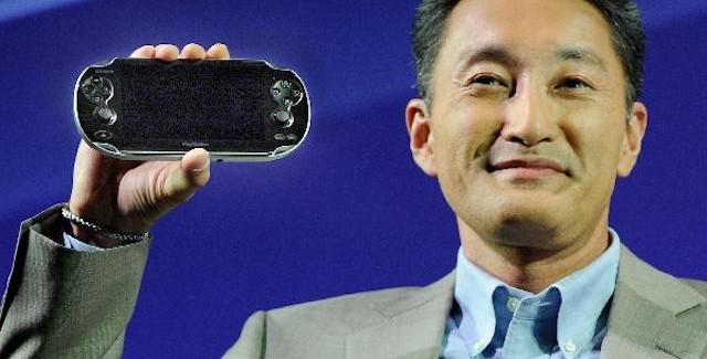 Kaz Hirai Sony President holding PlayStation Vita