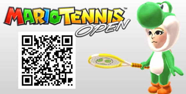 Mario Tennis Open QR Code Green Yoshi Costume for Mii Character