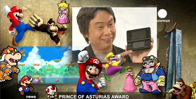 Shigeru Miyamoto and his video game characters