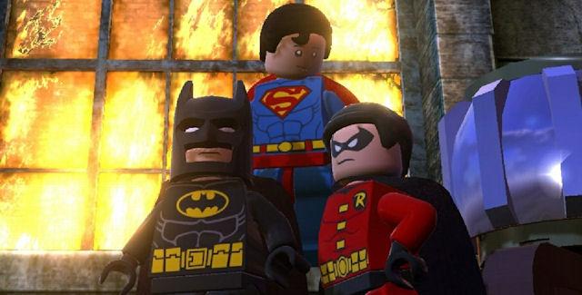 Superman flying in Lego Batman 2