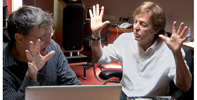 Paul McCartney composing music at Bungie