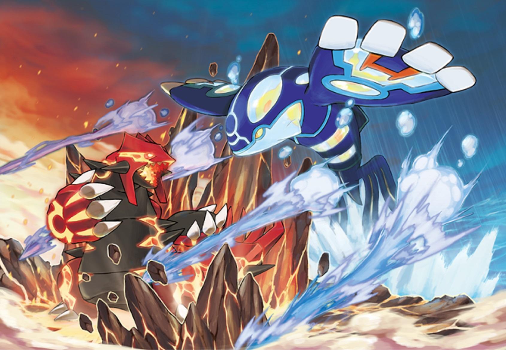 Pokemon Omega Ruby Alpha Sapphire Mega Kyogre Mega Groudon Artwork Wallpaper Official 3DS