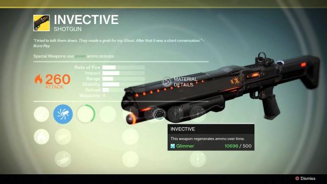 Destiny Invective Exotic shotgun