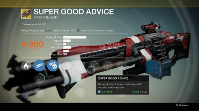 Destiny Super Good Advice Exotic machine gun