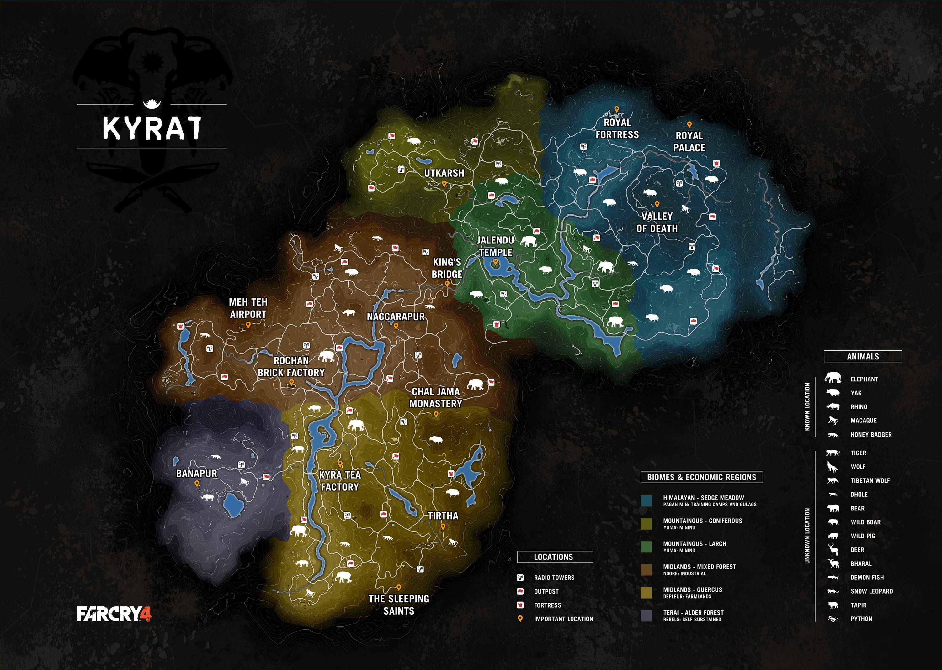 Far Cry 4 Animals Map