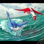 Latios Latias Pokemon Fanart Ocean Flight By Themerce Deviantart Wallpaper