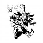 Zelda Majora's Mask 3D Black and White Skullkid Artwork 3DS Official