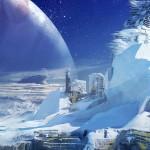 Destiny Europa human colony on Jupiter's icy moon artwork