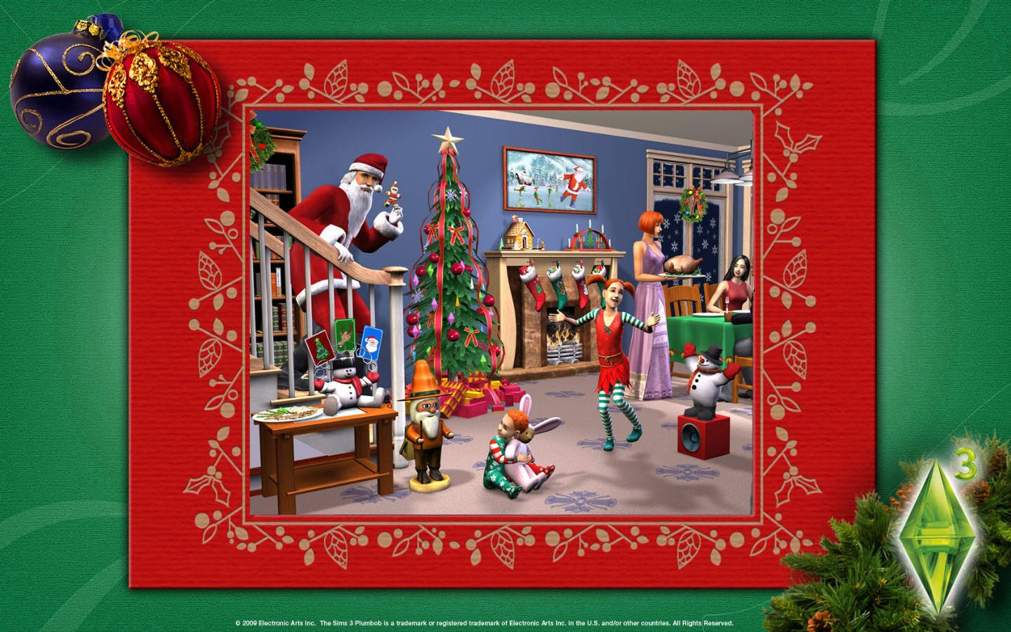 The Sims Christmas Wallpaper