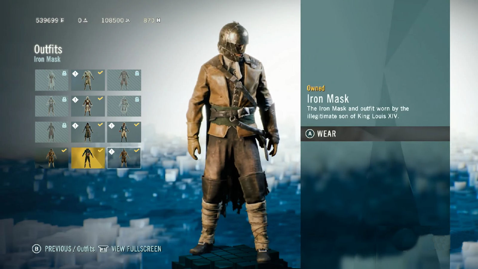 Assassin S Creed Unity Dead Kings Iron Mask Outfit