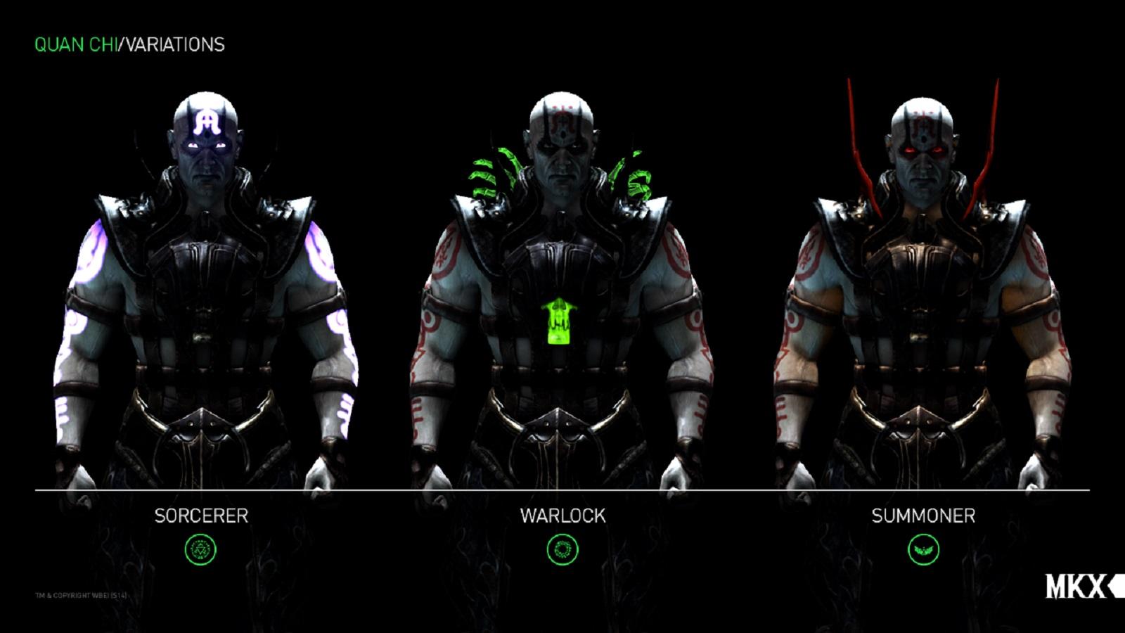 Mortal Kombat X Quan Chi All Variations Character Render As You