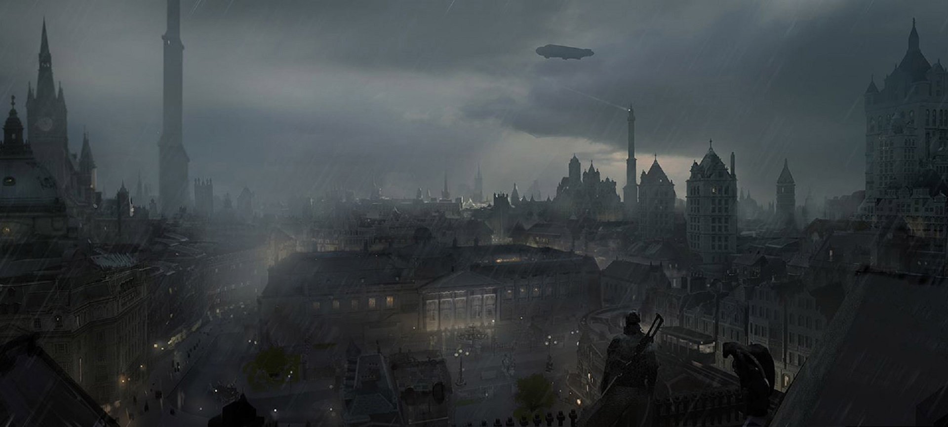 The Order 1886 Wallpaper City of London Rain and Blimps Concept Artwork PS4
