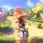 Mario Kart 8 Animal Crossing Gameplay Screenshot Cherry Blossoms and Music Notes Wii U