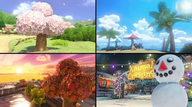Mario Kart 8 Animal Crossing Tracks Gameplay Screenshot Seasons Change Winter Fall Summer Spring Wii U