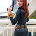 Meg Turney Dual Wielding Pistols Black Widow Cosplay