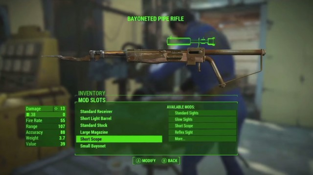 Fallout 4 Gun Crafting Bayonet Piper Rifle Xbox One PS4 PC Gameplay Screenshot