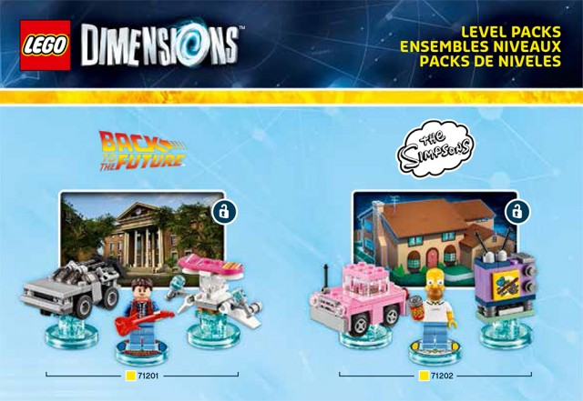 Lego Dimensions Simpsons Back to the Future Level Pack Sets Box Artwork Official USA