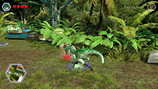 Lego Jurassic World Red Brick 9: Gold Brick Detector Location