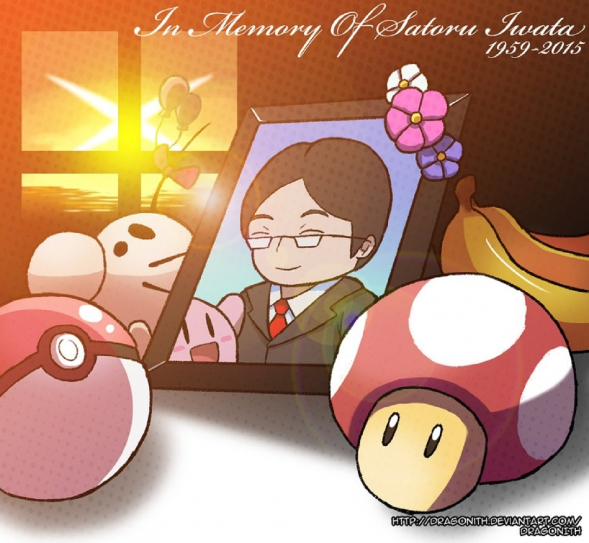 RIP Iwata Tribute Fanart Leave Luck to Heaven by Dragonith