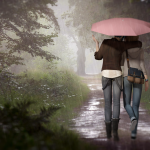 Life is Strange Fanart Chloe Max Walk in the Rain Pink Umbrella by Mary-0-o