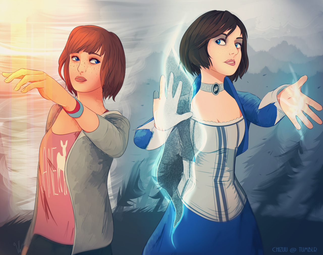 Life is Strange Fanart Bioshock Max and Elizabeth Infinity is Strange by Chizuu