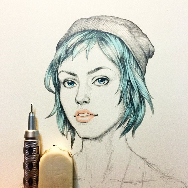 Life Is Strange Fanart Chloe Price Pencil and Copic Marker by Wijic of Japan