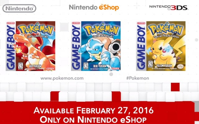 Pokemon Red, Pokemon Blue, Pokemon Yellow for 3DS