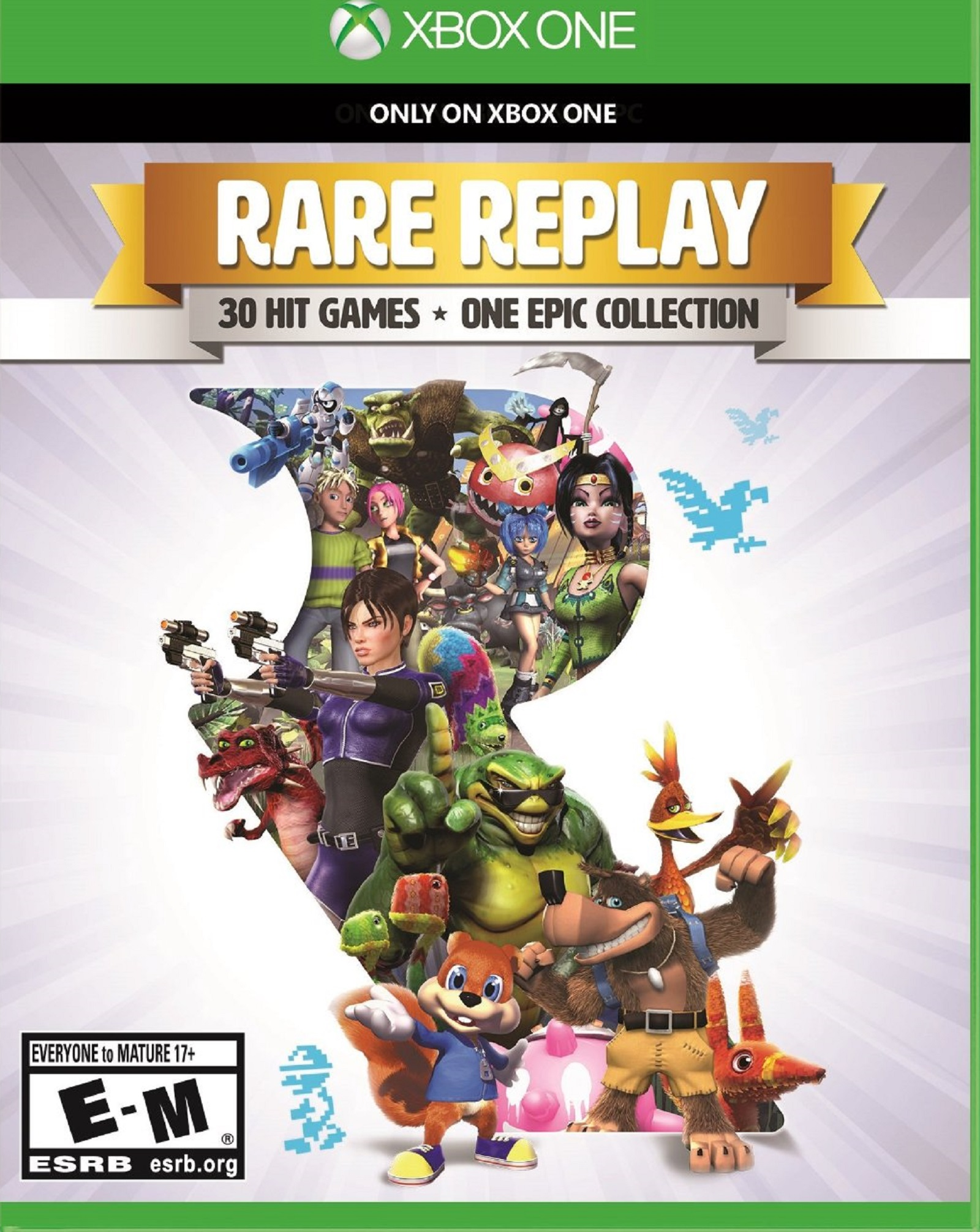 Xbox One Rare Replay USA Box Artwork E for Everyone T for Teen M for Mature