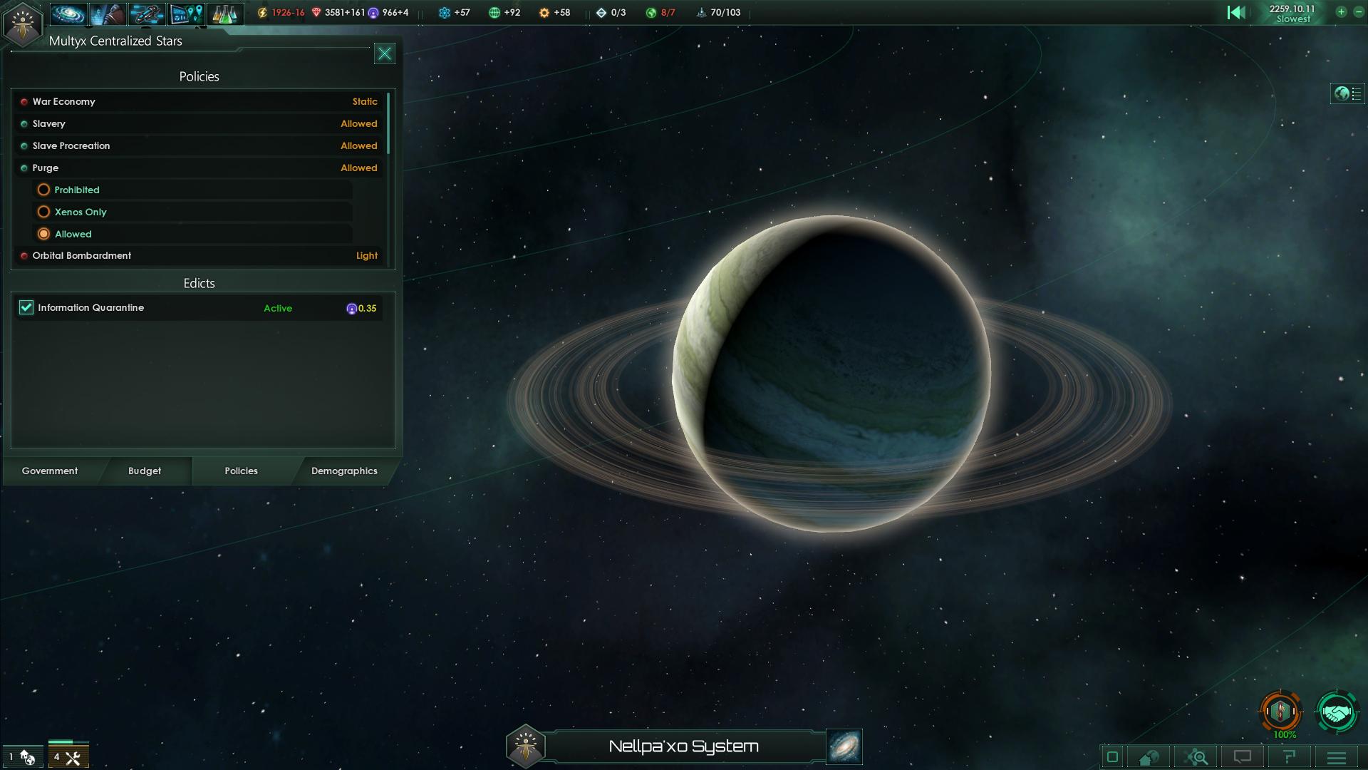 Stellaris Policies Screenshot