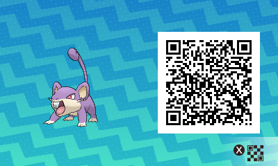 015 Pokemon Sun and Moon Female Rattata QR Code